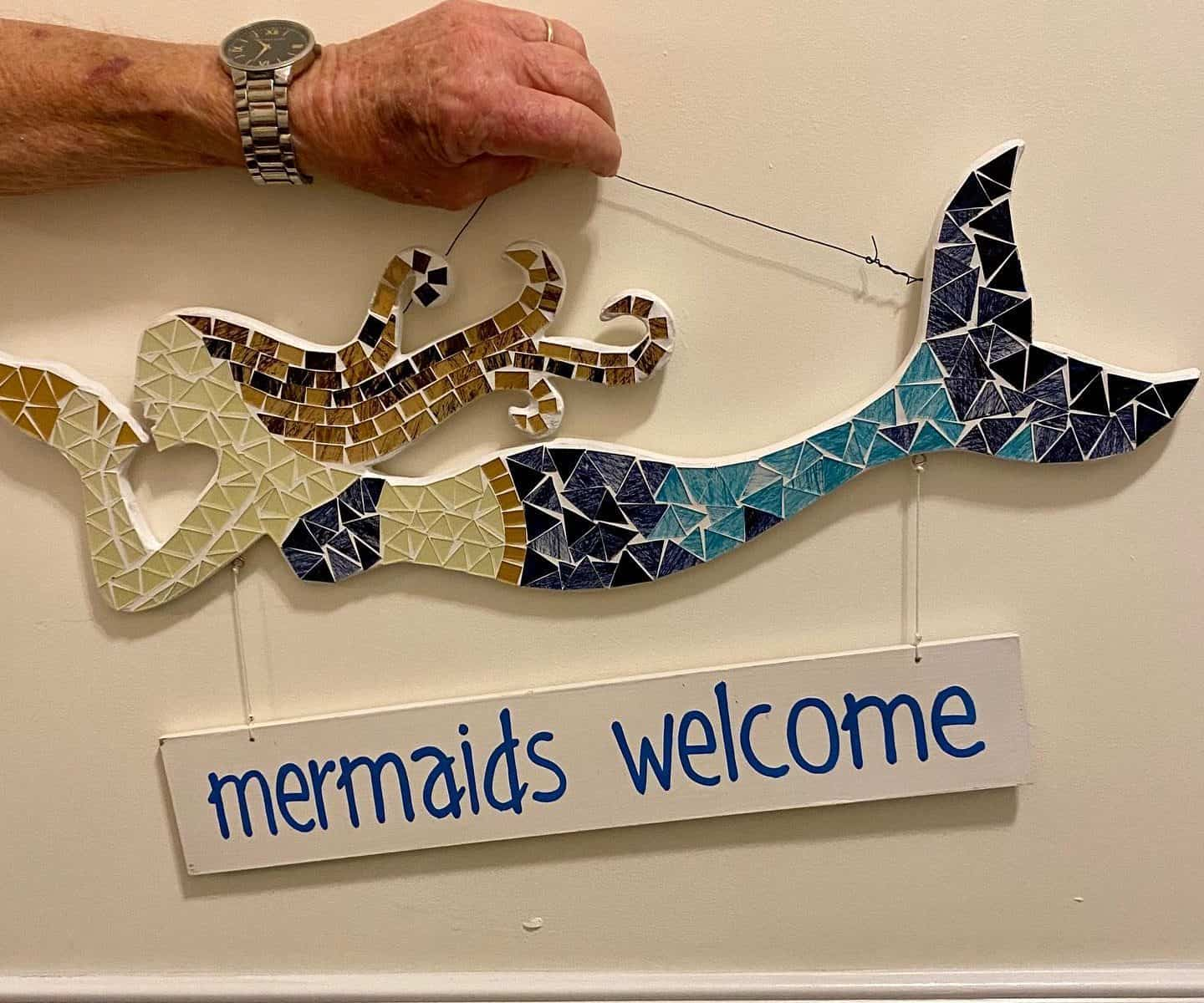 Mermaids welcome....... one of our lovely residents great crafts, love it and want to buy it please see business card attached #sunstoneapartments #j&...